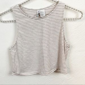 Divided l Grey Striped Cropped Tank